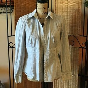 Black and White Fitted Button Down Shirt